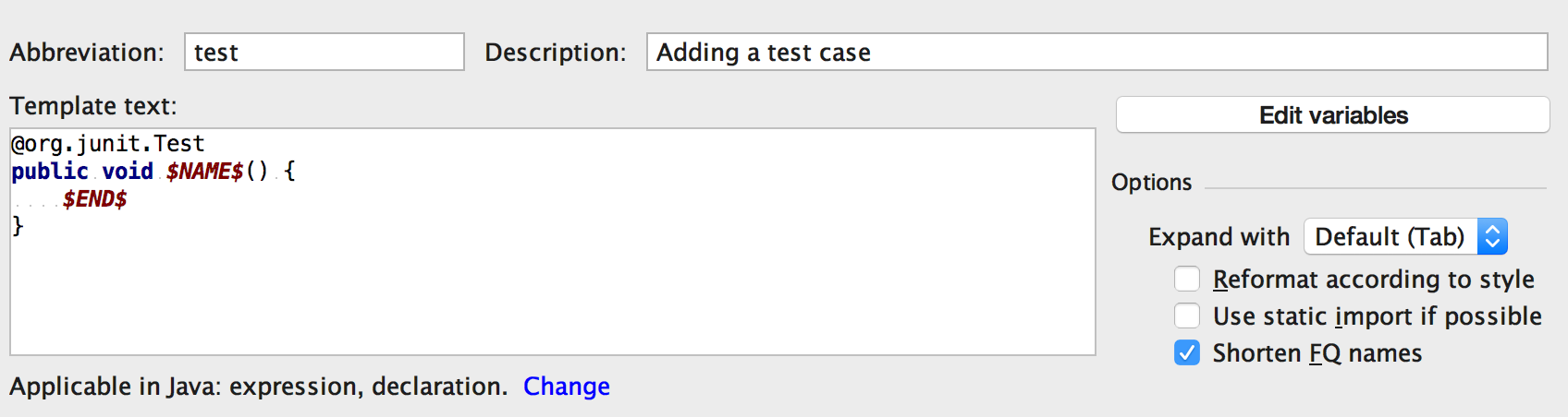 intelliJTestLiveTemplate